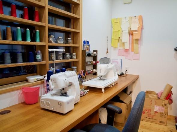 美紀さんのリクエストでつくられた裁縫部屋。
